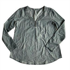 Soft Surroundings V-Neck Long Sleeve Henley Shirt